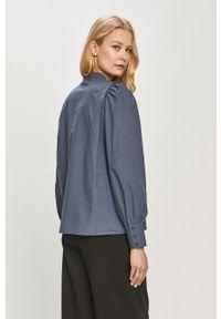 Vero Moda - Koszula bawełniana. Okazja: na co dzień. Typ kołnierza: kołnierzyk stójkowy. Kolor: niebieski. Materiał: bawełna. Styl: casual