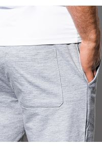 Ombre Clothing - Krótkie spodenki męskie dresowe P29 - szaro-niebieskie - XXL. Kolor: szary. Materiał: dresówka. Długość: krótkie. Styl: klasyczny #5