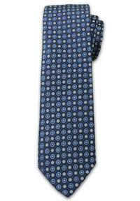 Wzorzasty Krawat Męski w Kółeczka - 6,7cm - Chattier - Kolorowy. Kolor: niebieski. Materiał: tkanina. Wzór: grochy. Styl: wizytowy, elegancki