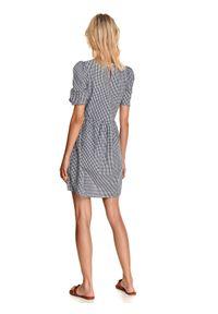 TOP SECRET - Sukienka z bufiastymi rękawami. Kolor: niebieski. Materiał: bawełna, tkanina. Sezon: jesień