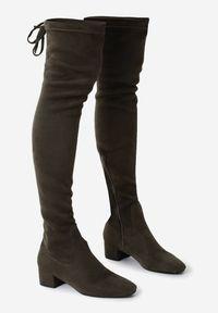 Born2be - Oliwkowe Kozaki Decorous. Wysokość cholewki: przed kolano. Zapięcie: zamek. Kolor: brązowy. Materiał: jeans, skóra, materiał. Szerokość cholewki: normalna. Obcas: na obcasie. Styl: elegancki. Wysokość obcasa: niski