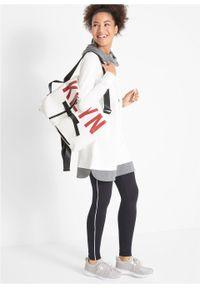 Długa bluza dresowa z legginsami (2 części) bonprix biel wełny - czarny. Kolor: biały. Materiał: dresówka, wełna. Długość: maxi