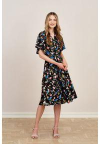Marie Zélie - Sukienka Eudora Aves czarna. Kolor: czarny. Materiał: dzianina. Typ sukienki: kopertowe