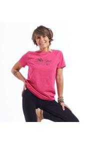 KIMJALY - Koszulka do jogi krótki rękaw damska. Kolor: różowy. Materiał: materiał, lyocell, bawełna, elastan. Długość rękawa: krótki rękaw. Długość: krótkie. Sport: joga i pilates