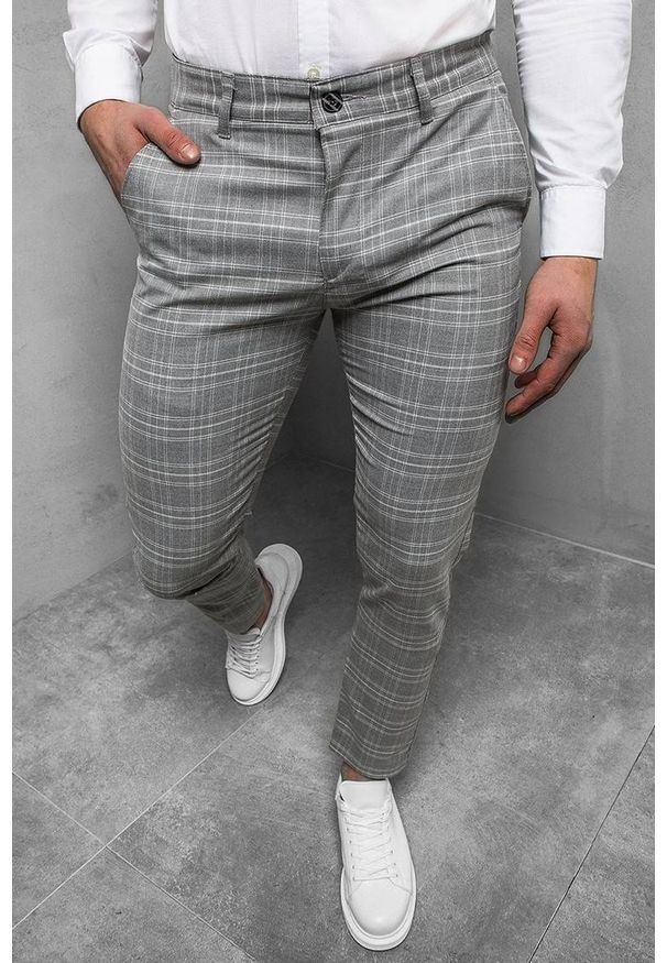 Szare jeansy IVET w kratkę, casualowe