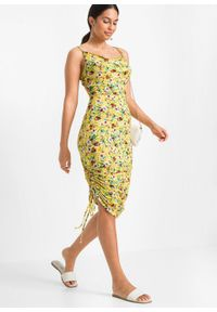 Sukienka shirtowa z marszczeniem z boku bonprix żółty w roślinny wzór. Kolor: żółty. Długość rękawa: na ramiączkach