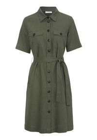 Freequent Sukienka z mieszanki lnu Lava oliwkowy female zielony L (42). Kolor: zielony. Materiał: len. Długość rękawa: krótki rękaw. Styl: elegancki