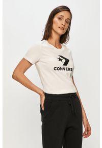 Biała bluzka Converse z okrągłym kołnierzem, casualowa, z nadrukiem