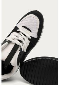 Czarne buty sportowe ANSWEAR na sznurówki, z okrągłym noskiem, z cholewką