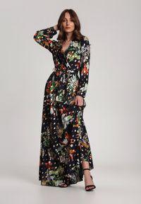 Renee - Granatowa Sukienka Thelmelle. Kolor: niebieski. Długość rękawa: długi rękaw. Wzór: nadruk. Długość: maxi