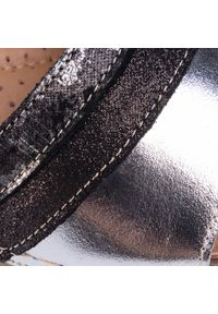 Łukbut - Sandały ŁUKBUT - 11040-3-L-426 Srebrno/Szary. Okazja: na co dzień. Kolor: czarny. Materiał: skóra, zamsz. Styl: casual #4