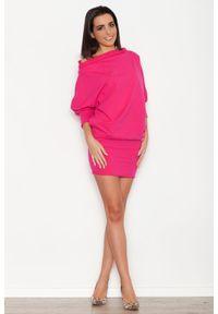 Katrus - Różowa Dzianinowa Sukienka z Nietoperzowym Długim Rękawem. Kolor: różowy. Materiał: dzianina. Długość rękawa: długi rękaw