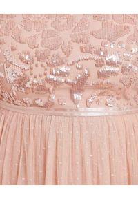NEEDLE & THREAD - Sukienka midi Tempest Bodice. Kolor: różowy, fioletowy, wielokolorowy. Materiał: tiul. Długość rękawa: długi rękaw. Wzór: aplikacja. Długość: midi