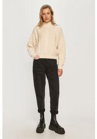 Beżowy sweter Miss Sixty z długim rękawem, z golfem, długi, klasyczny