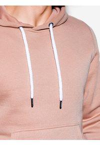 Ombre Clothing - Bluza męska z kapturem B979 - jasnobeżowa - XXL. Typ kołnierza: kaptur. Kolor: beżowy. Materiał: bawełna, poliester. Styl: klasyczny
