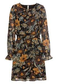 Sukienka z rękawami z falbanami bonprix czarno-brązowy w kwiaty. Kolor: czarny. Wzór: kwiaty
