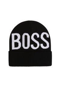 Czarna czapka BOSS z nadrukiem