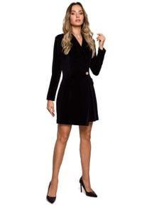 MOE - Czarna Żakietowa Sukienka Welurowa. Kolor: czarny. Materiał: welur