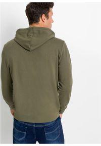 Zielona bluza bonprix z kapturem, z nadrukiem