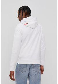Biała bluza nierozpinana Calvin Klein Jeans na co dzień, z kapturem, z nadrukiem, casualowa