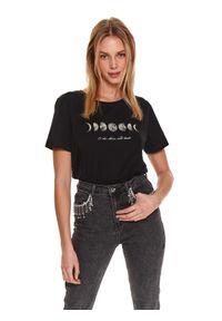 TOP SECRET - T-shirt z nadrukiem. Okazja: na co dzień. Kolor: czarny. Materiał: bawełna. Długość: krótkie. Wzór: nadruk. Sezon: wiosna. Styl: casual