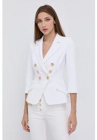 Elisabetta Franchi - Marynarka. Kolor: biały. Materiał: tkanina. Styl: klasyczny