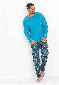 Piżama bonprix turkusowy w kratę. Kolor: szary. Długość: długie #2
