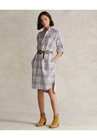 Ralph Lauren - RALPH LAUREN - Bawełniana sukienka w kratę Relaxed fit. Typ kołnierza: polo. Kolor: niebieski. Materiał: bawełna. Długość rękawa: długi rękaw