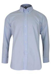 Niebieska elegancka koszula Chiao z długim rękawem, długa, do pracy