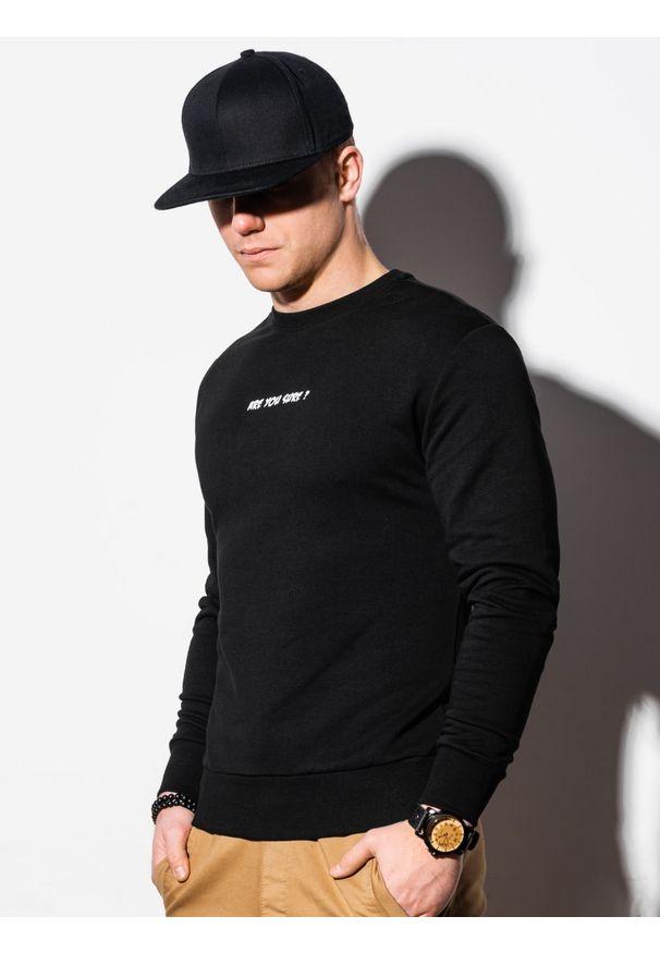 Ombre Clothing - Bluza męska bez kaptura z nadrukiem B1215 - czarna - XXL. Typ kołnierza: bez kaptura. Kolor: czarny. Materiał: bawełna, poliester. Wzór: nadruk