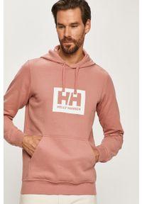 Różowa bluza Helly Hansen z kapturem, z nadrukiem, na co dzień