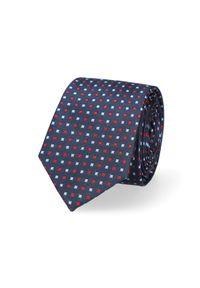 Lancerto - Krawat Granatowy Mikrowzór. Kolor: niebieski. Materiał: jedwab, materiał. Wzór: geometria. Styl: elegancki