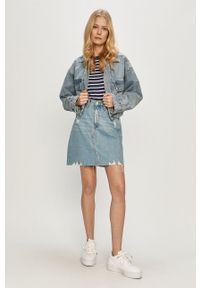 Dr. Denim - Spódnica jeansowa. Okazja: na co dzień. Stan: podwyższony. Kolor: niebieski. Materiał: jeans, denim. Styl: casual