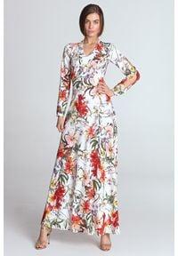 e-margeritka - Sukienka do kostek w kwiaty ecru - 36. Materiał: poliester, materiał. Długość rękawa: długi rękaw. Wzór: kwiaty. Typ sukienki: proste, rozkloszowane. Styl: elegancki. Długość: maxi