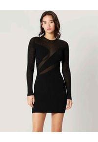 HERVE LEGER - Czarna sukienka z dzianiny. Kolor: czarny. Materiał: dzianina. Długość rękawa: długi rękaw. Typ sukienki: dopasowane. Styl: klasyczny. Długość: mini