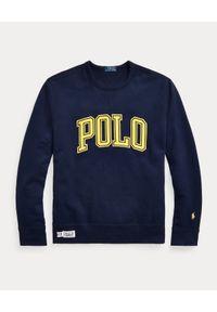 Ralph Lauren - RALPH LAUREN - Granatowa bluza bez kaptura Fleece. Typ kołnierza: bez kaptura. Kolor: niebieski. Wzór: napisy, nadruk