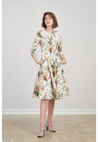 Marie Zélie - Sukienka Galatea Luzula kremowa 42 biały. Kolor: kremowy, biały, wielokolorowy. Materiał: bawełna, skóra, materiał, elastan