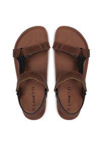 Brązowe sandały Lanetti casualowe, na lato