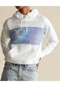Ralph Lauren - RALPH LAUREN - Biała bluza z kapturem. Typ kołnierza: kaptur. Kolor: biały. Materiał: bawełna. Długość rękawa: długi rękaw. Długość: długie. Wzór: kolorowy
