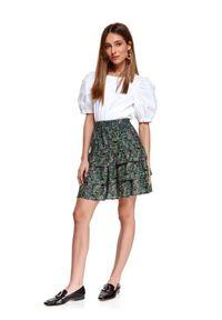 TOP SECRET - Mini spódnica w kwiatki, z falbaną. Kolor: zielony. Materiał: tkanina. Wzór: kwiaty. Sezon: wiosna