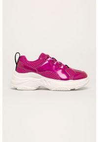 Różowe buty sportowe Desigual Sport z cholewką, z okrągłym noskiem, na sznurówki