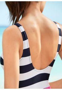 Kostium kąpielowy bonprix ciemnoniebiesko-biały. Kolor: niebieski