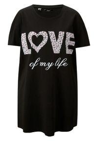 Shirt oversize bawełniany z nadrukiem bonprix czarny z nadrukiem. Kolor: czarny. Materiał: bawełna. Wzór: nadruk