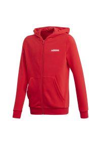 Czerwona bluza Adidas młodzieżowa, z kapturem