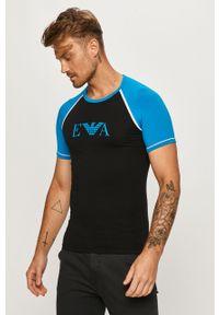 Czarny t-shirt Emporio Armani raglanowy rękaw, casualowy, z okrągłym kołnierzem