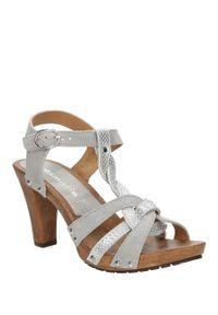Tamaris - Sandały srebrne skórzane tamaris 1-28349-28. Kolor: srebrny. Materiał: skóra