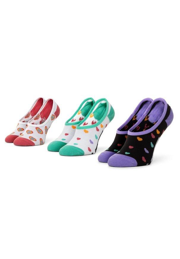 Vans - Zestaw 3 par stopek dziecięcych VANS - Wm Rainbow Hearts Canoodle VN0A4S7X4481 r.31,5-36 Multi. Kolor: biały. Materiał: elastan, nylon, materiał, bawełna