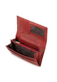 Wittchen - Damski portfel ze skóry klasyczny. Kolor: czerwony. Materiał: skóra. Wzór: aplikacja