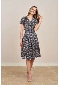 Marie Zélie - Sukienka Duilin Jardinet. Materiał: bawełna, skóra, materiał. Długość rękawa: krótki rękaw. Typ sukienki: kopertowe