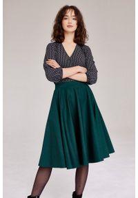 Marie Zélie - Spódnica Vinca butelkowa zieleń. Materiał: bawełna, tkanina, elastan. Wzór: ze splotem, aplikacja, kolorowy. Sezon: jesień. Styl: wizytowy